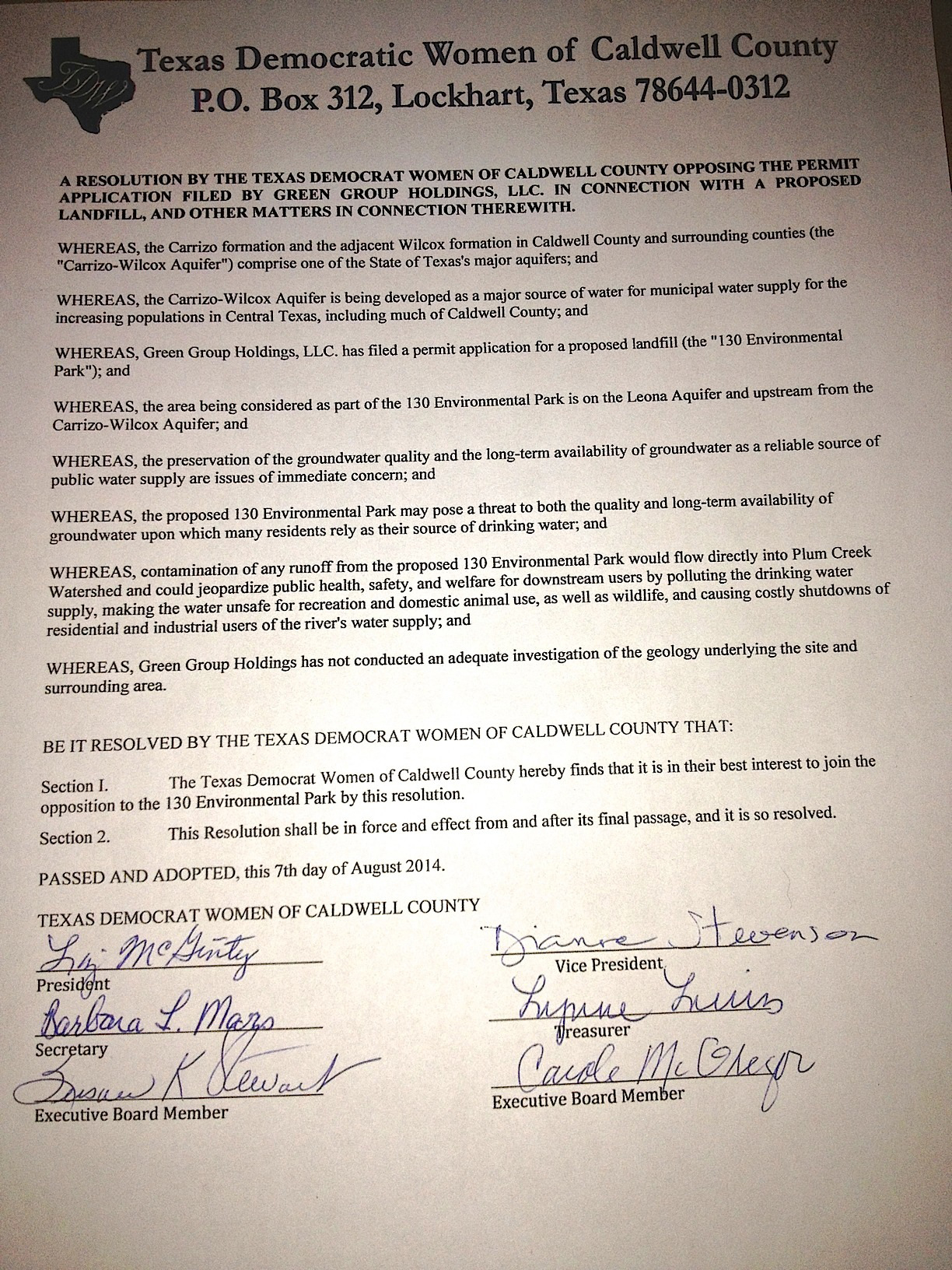 Caldwell County Democrats Adopt Resolution Opposing Proposed